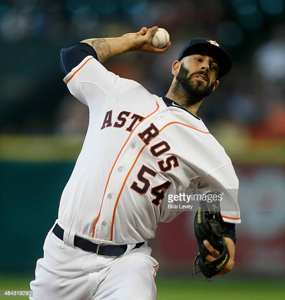 Mike Fiers of the Houston Astros throws against the Detroit Tigers at Minute Maid Park on August 16 2015 in Houston Texas