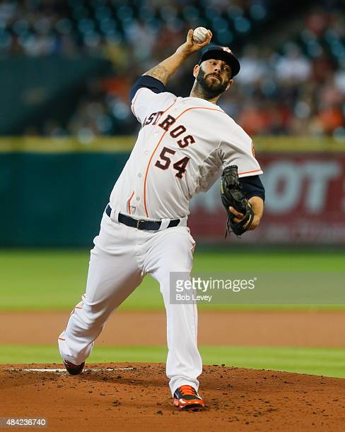 Mike Fiers of the Houston Astros throws in the first inning against the Detroit Tigers at Minute Maid Park on August 16 2015 in Houston Texas