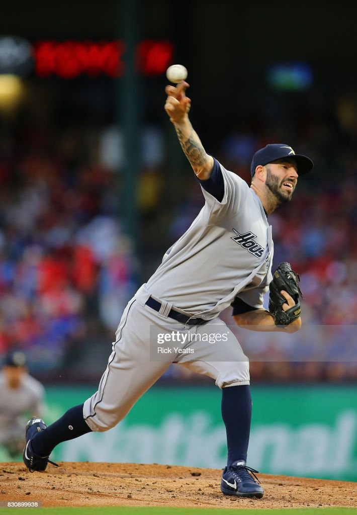 Mike Fiers #54 of the Houston Astros throws in the first inning against the Texas Rangers at Globe Life Park in Arlington on August 12, 2017 in Arlington, Texas.