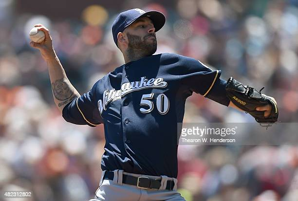 Mike Fiers of the Milwaukee Brewers pitches against the San Francisco Giants in the bottom of the first inning at ATT Park on July 29 2015 in San...