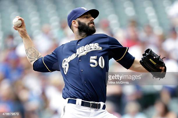 Mike Fiers of the Milwaukee Brewers pitches during the first inning against the Minnesota Twins during the Interleague game at Miller Park on June 28...