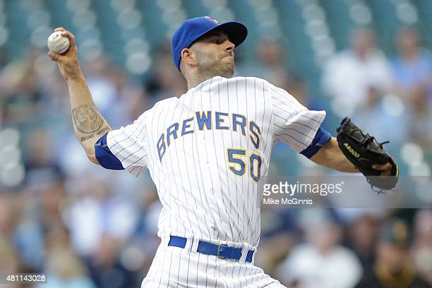 Mike Fiers of the Milwaukee Brewers pitches during the first inning against the Pittsburgh Pirates at Miller Park on July 17 2015 in Milwaukee...
