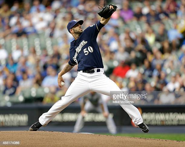 Mike Fiers of the Milwaukee Brewers pitches during the game against the Toronto Blue Jays at Miller Park on August 19 2014 in Milwaukee Wisconsin