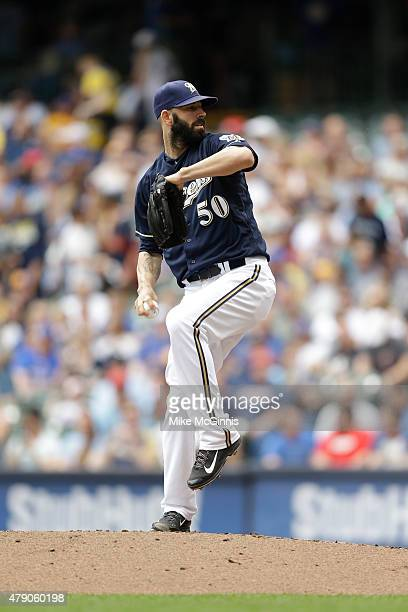 Mike Fiers of the Milwaukee Brewers pitches during the Interleague game against the Minnesota Twins at Miller Park on June 28 2015 in Milwaukee...