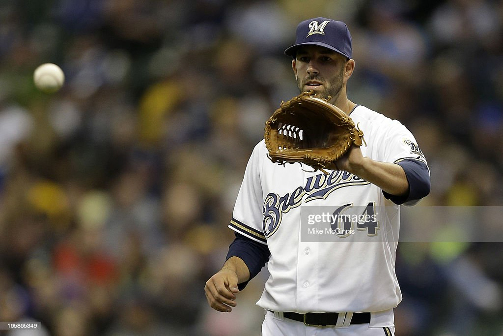Mike Fiers #64 of the Milwaukee Brewers pitches in the first inning against the Arizona Diamondbacks at Miller Park on April 6, 2013 in Milwaukee, Wisconsin.