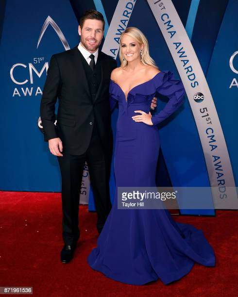 Mike Fisher and Carrie Underwood attend the 51st annual CMA Awards at the Bridgestone Arena on November 8 2017 in Nashville Tennessee