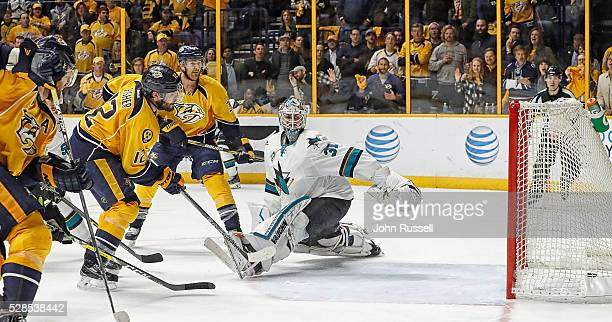 Mike Fisher of the Nashville Predators beats Martin Jones of the San Jose Sharks for the game winner in the third overtime of Game Four of the...