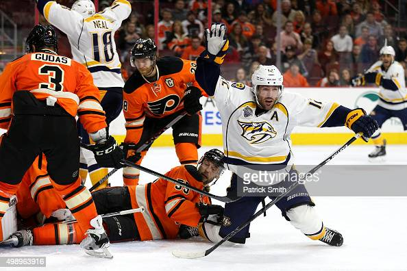 Mike Fisher of the Nashville Predators celebrates after scoring a third period goal against the Philadelphia Flyers at Wells Fargo Center on November...