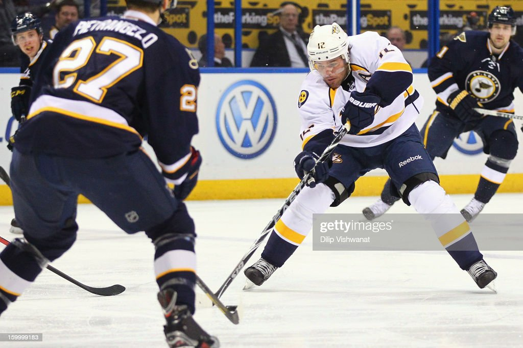 <a gi-track='captionPersonalityLinkClicked' href=/galleries/search?phrase=Mike+Fisher&family=editorial&specificpeople=204732 ng-click='$event.stopPropagation()'>Mike Fisher</a> #12 of the Nashville Predators moves the puck up the ice against the St. Louis Blues at the Scottrade Center on January 24, 2013 in St. Louis, Missouri.