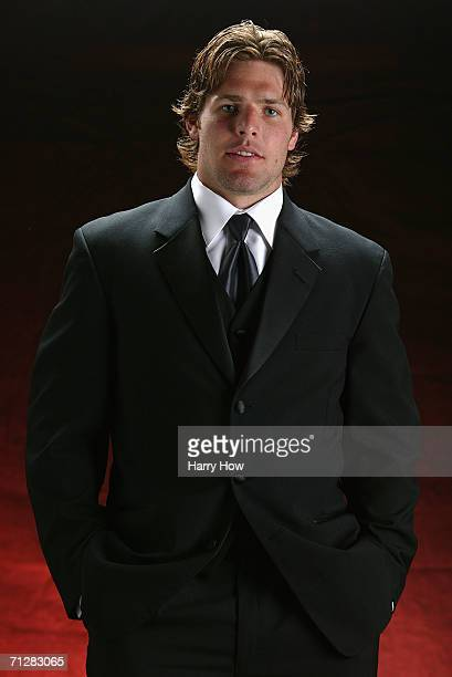 Mike Fisher of the Ottawa Senators poses backstage at the NHL TV Awards Show in the Rondo Boardroom at the Westin Grand on June 22 2006 in Vancouver...