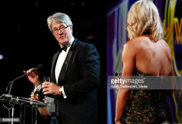 Mike Fitzpatrick proposes a toast for Erin Phillips of the Crows after she was announced as the inaugural AFLW Best and Fairest Winner during the The...