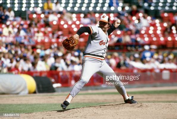 Mike Flanagan of the Baltimore Orioles pitches against the Milwaukee Brewers during a Major League Baseball game circa 1984 at Milwaukee County...