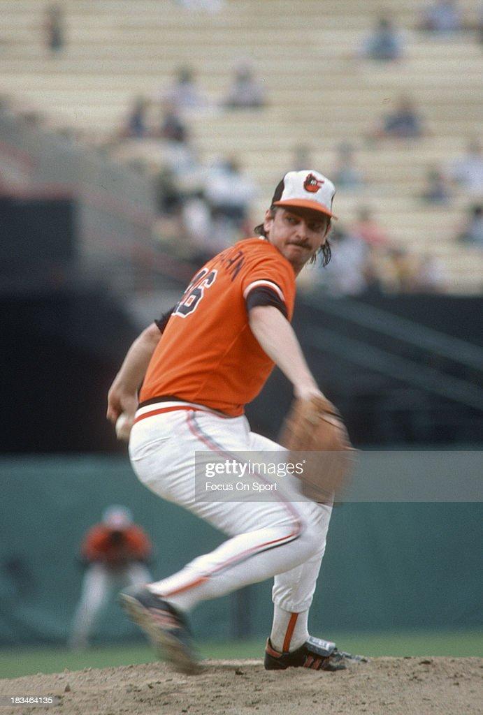 Mike Flanagan of the Baltimore Orioles pitches during a Major League Baseball game circa 1977 at Memorial Stadium in Baltimore Maryland Flanagan...