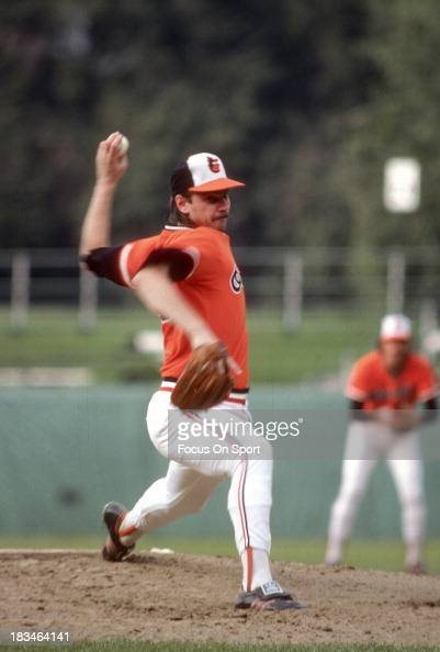 Mike Flanagan of the Baltimore Orioles pitches during a Major League Baseball game circa 1977 at Memorial Stadium in Baltimore Maryland Flanagan...