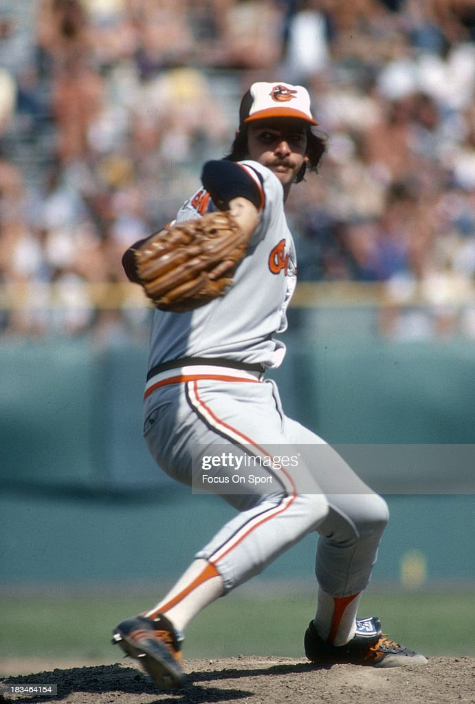 Mike Flanagan of the Baltimore Orioles pitches during a Major League Baseball game circa 1980 Flanagan played for the Orioles from 197587 and 199192