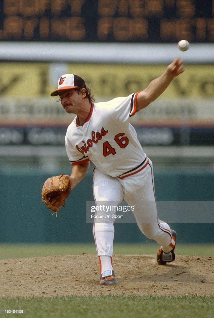 Mike Flanagan of the Baltimore Orioles pitches during a Major League Baseball game circa 1980 at Memorial Stadium in Baltimore Maryland Flanagan...