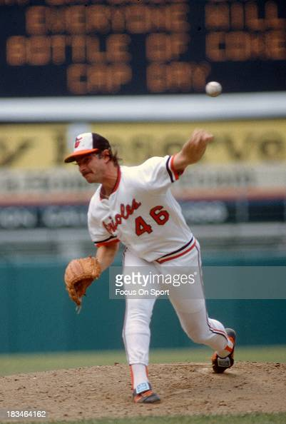 Mike Flanagan of the Baltimore Orioles pitches during a Major League Baseball game circa 1980 at Memorial Stadium in Baltimore Maryland Flanagan...
