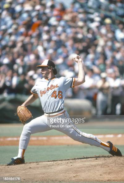 Mike Flanagan of the Baltimore Orioles pitches during a Major League Baseball game circa 1984 Flanagan played for the Orioles from 197587 and 199192