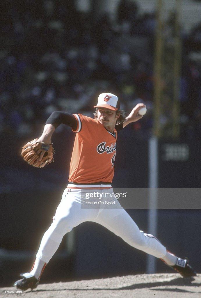 Mike Flanagan of the Baltimore Orioles pitches during an Major League Baseball game circa 1978 at Memorial Stadium in Baltimore Maryland Flanagan...