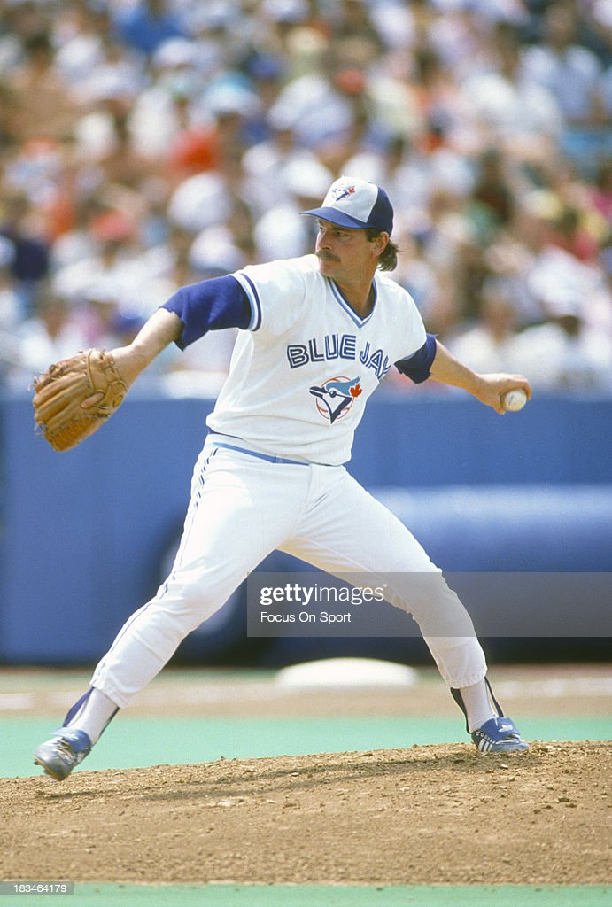 Mike Flanagan of the Toronto Blue Jays pitches during an Major League Baseball game circa 1987 at Exhibition Stadium in Toronto Ontario Flanagan...