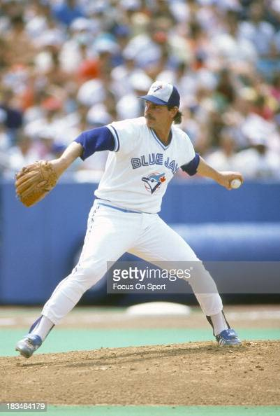Mike Flanagan of the Toronto Blue Jays pitches during an Major League Baseball game circa 1987 at Exhibition Stadium in Toronto Ontario Flanagan...
