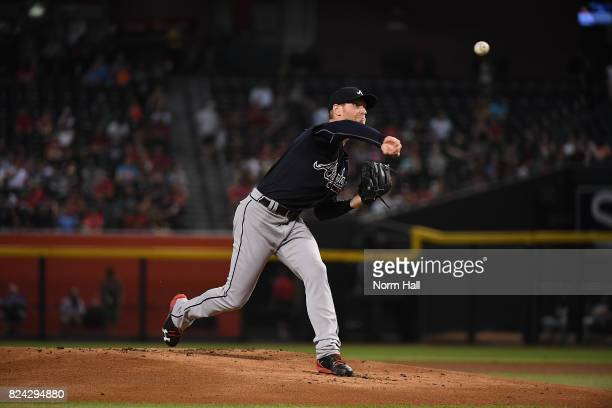 Mike Foltynewicz of the Atlanta Braves delivers a pitch against the Arizona Diamondbacks at Chase Field on July 25 2017 in Phoenix Arizona