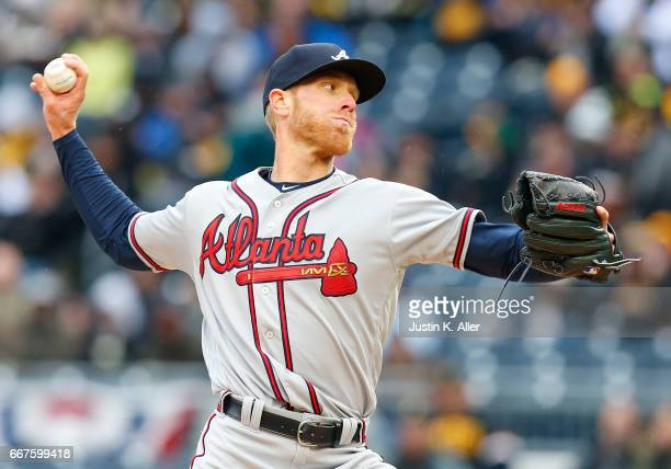 Mike Foltynewicz of the Atlanta Braves in action against the Pittsburgh Pirates on Opening Day at PNC Park on April 7 2017 in Pittsburgh Pennsylvania