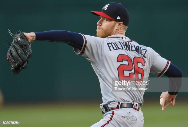 Mike Foltynewicz of the Atlanta Braves pitches against the Oakland Athletics in the bottom of the first inning at Oakland Alameda Coliseum on June 30...