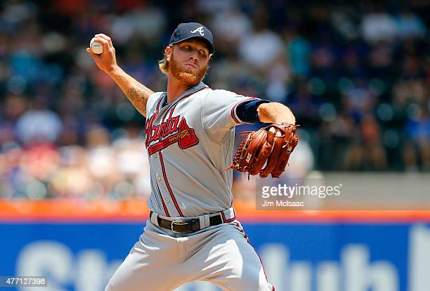 Mike Foltynewicz of the Atlanta Braves pitches in the first inning against the New York Mets at Citi Field on June 14 2015 in the Flushing...