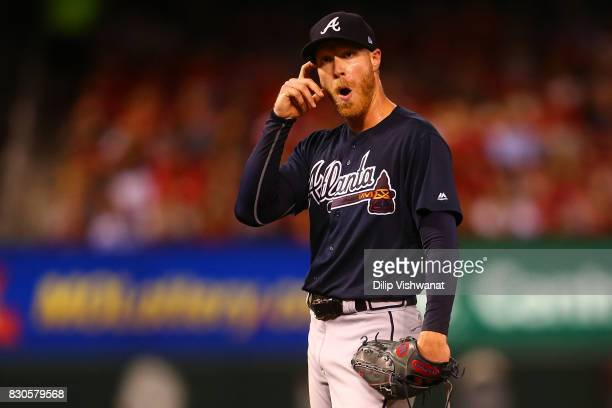 Mike Foltynewicz of the Atlanta Braves reacts to being removed from the game against the St Louis Cardinals in the third inning at Busch Stadium on...