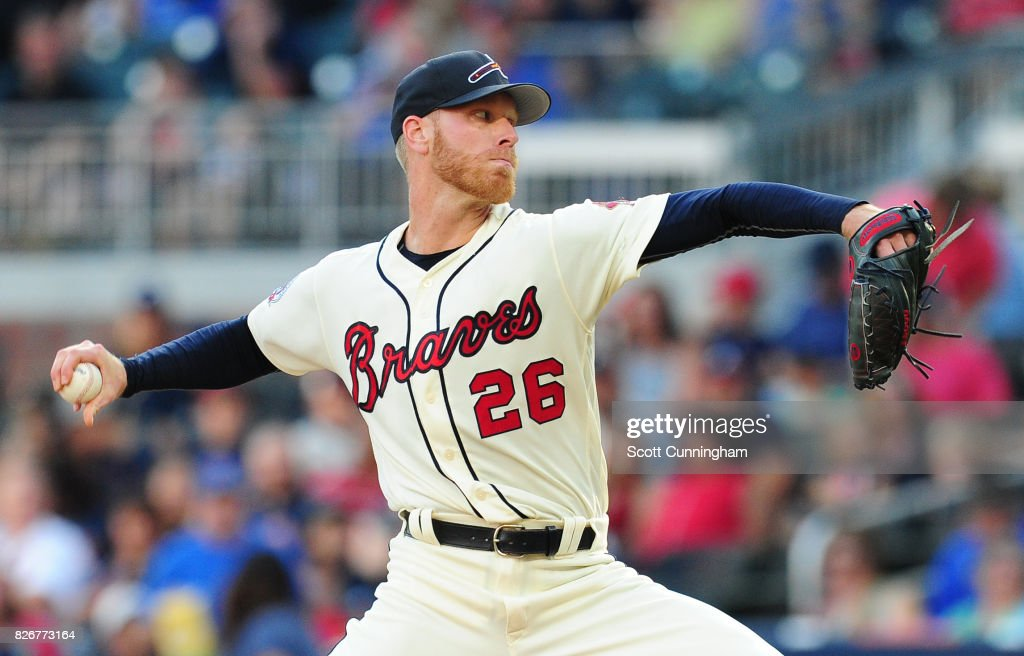 Mike Foltynewicz #26 of the Atlanta Braves throws a first inning pitch against the Miami Marlins at SunTrust Park on August 5, 2017 in Atlanta, Georgia.