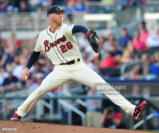 Mike Foltynewicz of the Atlanta Braves throws a first inning pitch against the Miami Marlins at SunTrust Park on August 5 2017 in Atlanta Georgia