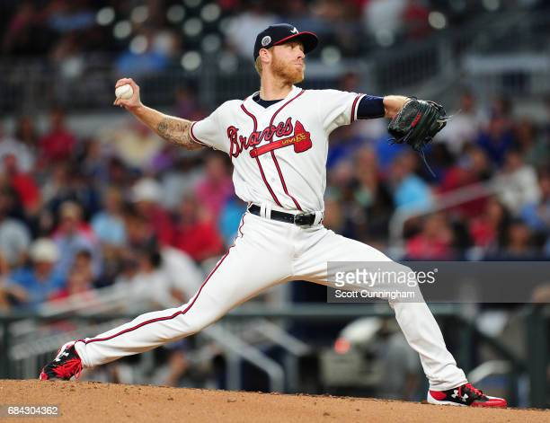 Mike Foltynewicz of the Atlanta Braves throws a fourth inning pitch against the Toronto Blue Jays at SunTrust Park on May 17 2017 in Atlanta Georgia