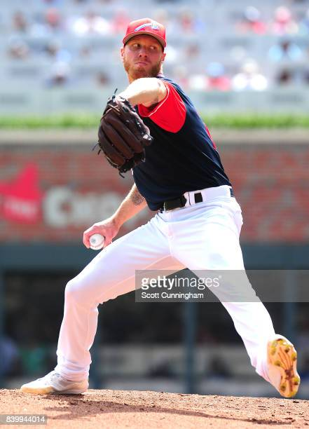 Mike Foltynewicz of the Atlanta Braves throws a fourth inning pitch against the Colorado Rockies at SunTrust Park on August 27 2017 in Atlanta Georgia