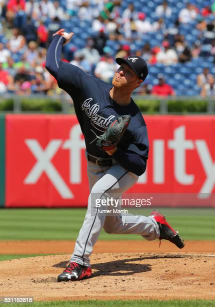 Mike Foltynewicz of the Atlanta Braves throws a pitch during a game against the Philadelphia Phillies at Citizens Bank Park on July 31 2017 in...