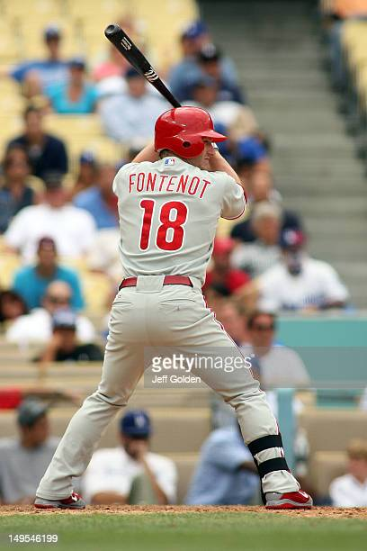 Mike Fontenot of the Philadelphia Phillies bats against the Los Angeles Dodgers in the 11th inning at Dodger Stadium on July 18 2012 in Los Angeles...