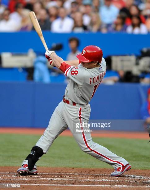 Mike Fontenot of the Philadelphia Phillies bats during interleague MLB game action against the Toronto Blue Jays June 15 2012 at Rogers Centre in...