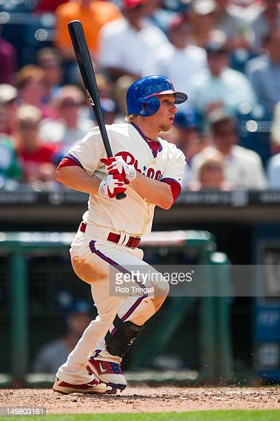 Mike Fontenot of the Philadelphia Phillies bats during the game against the Los Angeles Dodgers at Citizens Bank Park on June 7 2012 in Philadelphia...