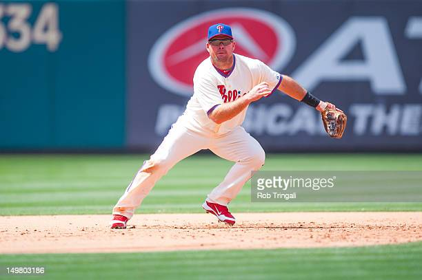 Mike Fontenot of the Philadelphia Phillies defends his position during the game against the Los Angeles Dodgers at Citizens Bank Park on June 7 2012...