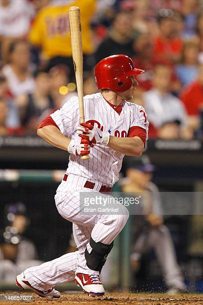 Mike Fontenot of the Philadelphia Phillies gets a base hit in the seventh inning of the game against the Colorado Rockies at Citizens Bank Park on...