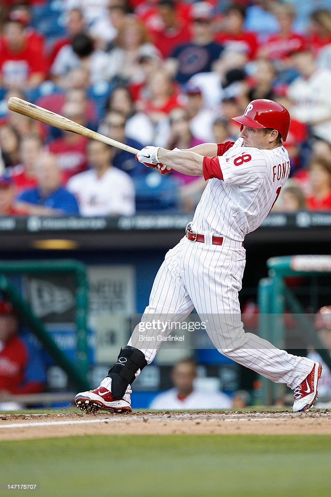 <a gi-track='captionPersonalityLinkClicked' href=/galleries/search?phrase=Mike+Fontenot&family=editorial&specificpeople=2493045 ng-click='$event.stopPropagation()'>Mike Fontenot</a> #18 of the Philadelphia Phillies gets a base hit in the second inning of the game against the Pittsburgh Pirates at Citizens Bank Park on June 26, 2012 in Philadelphia, Pennsylvania.