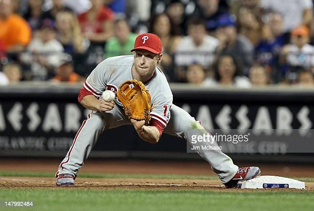 Mike Fontenot of the Philadelphia Phillies in action against the New York Mets at Citi Field on July 5 2012 in the Flushing neighborhood of the...