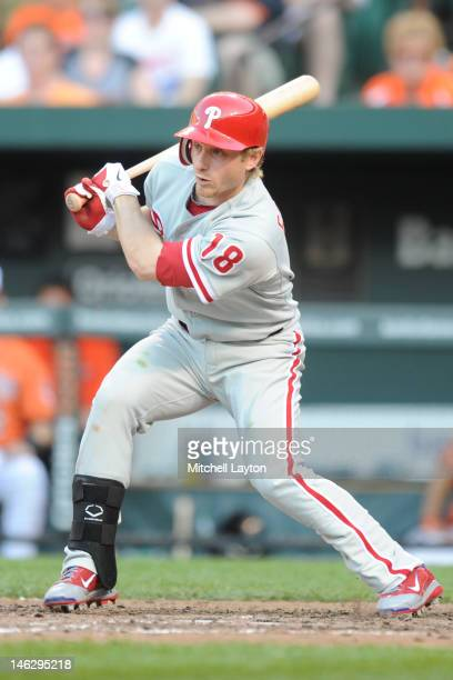 Mike Fontenot of the Philadelphia Phillies takes a swing during a interleague baseball game against the Baltimore Orioles on June 9 2012 at Oriole...