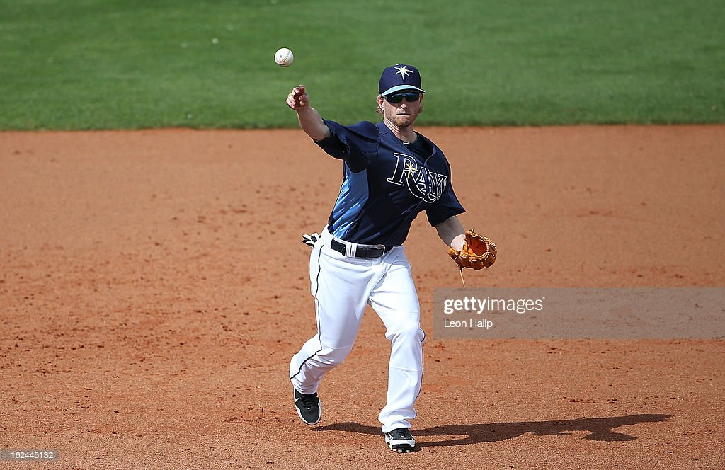 <a gi-track='captionPersonalityLinkClicked' href=/galleries/search?phrase=Mike+Fontenot&family=editorial&specificpeople=2493045 ng-click='$event.stopPropagation()'>Mike Fontenot</a> #7 of the Tampa Bay Rays makes the throw to first base during the Spring Training game against the Pittsburgh Pirates on February 23, 2013 in Port Charlotte, Florida. The Pirates defeated the Rays' 3-2.