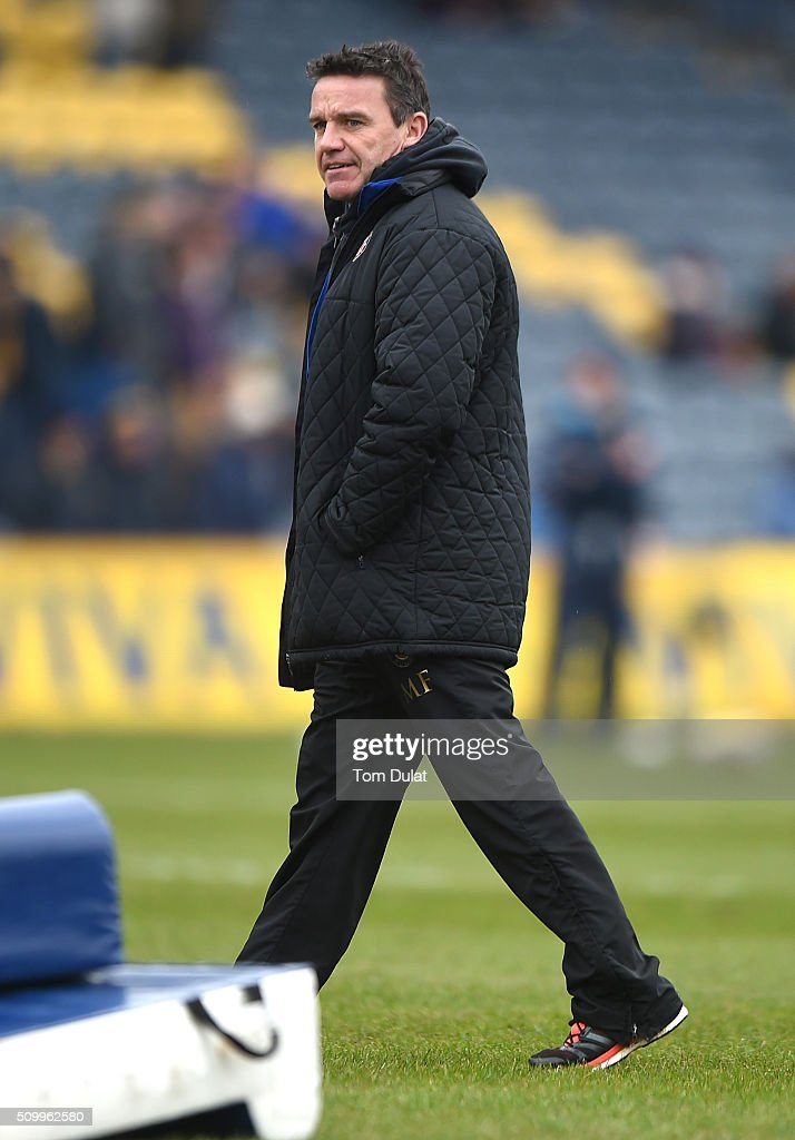 <a gi-track='captionPersonalityLinkClicked' href=/galleries/search?phrase=Mike+Ford&family=editorial&specificpeople=1434343 ng-click='$event.stopPropagation()'>Mike Ford</a>, Head Coach of Bath Rugby looks on during the Aviva Premiership match between Worcester Warriors and Bath Rugby at Sixways Stadium on February 13, 2016 in Worcester, England. (Photo by Tom Dulat/Getty Images).