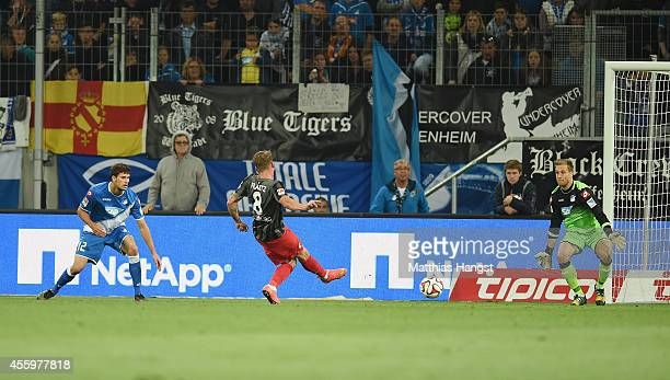 Mike Frantz of Freiburg scores his team's first goal during the Bundesliga match between TSG 1899 Hoffenheim and SC Freiburg at Wirsol...