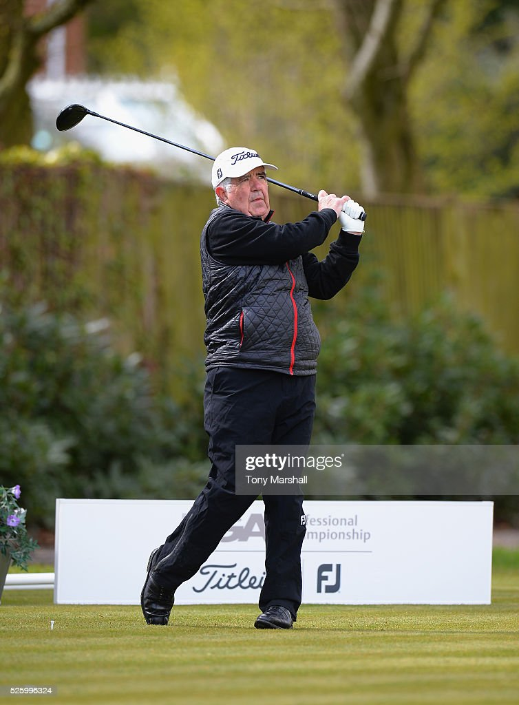 Mike Gallagher of Farthingstone Hotel and Golf Club plays his first shot on the 1st tee during the PGA Professional Championship - Midland Qualifier at Little Aston Golf Club on April 29, 2016 in Sutton Coldfield, England.