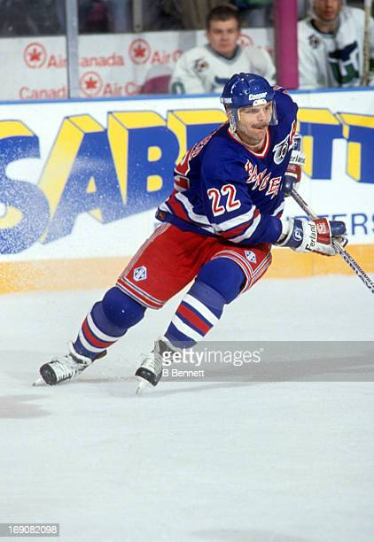 Mike Gartner of the New York Rangers skates on the ice during an NHL game against the Hartford Whalers on March 1 1992 at the Madison Square Garden...