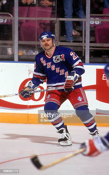 Mike Gartner of the New York Rangers skates on the ice during an NHL game in March 1992 at the Madison Square Garden in New York New York