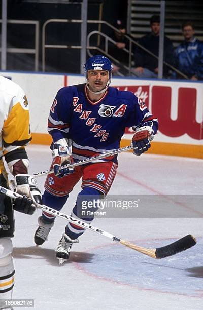 Mike Gartner of the New York Rangers skates on the ice during an NHL game against the Pittsburgh Penguins on April 16 1992 at the Madison Square...